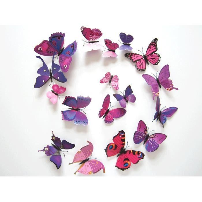 TRIXES Lot de 12 Papillons Magnétiques Roses et Violets 3D Décoration à Coller sur un Mur