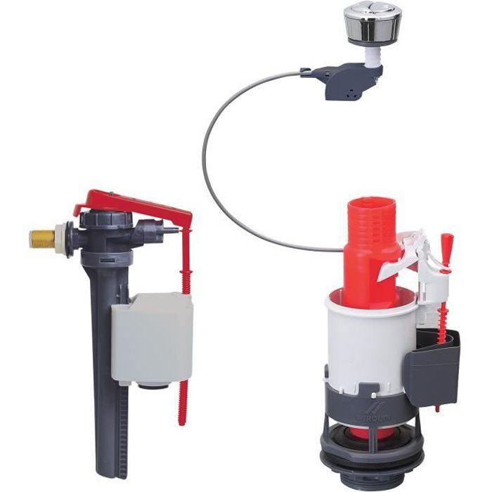 WIRQUIN Mécanisme de WC MW² double poussoirs à câble + Robinet flotteur Jollyfill latéral