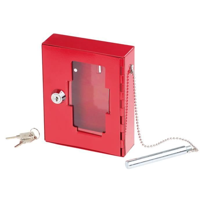 Boîte à clés de secours professionnelle avec vitre et marteau d'urgence