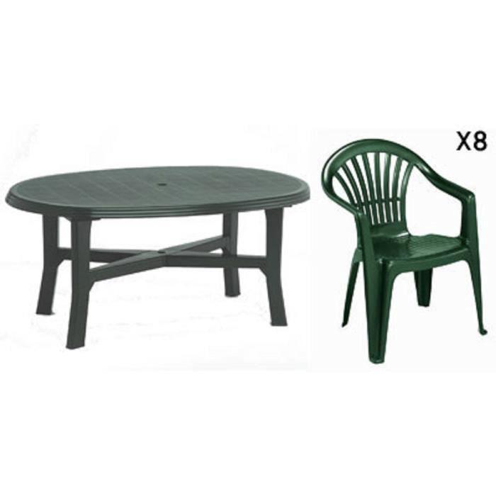 Table ovale verte + 8 fauteuils jardin plastique vert ...