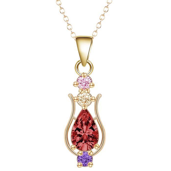 Mode plaqué or rose ovale coupé rouge Rubis CZ pendentif collier mariage bijoux