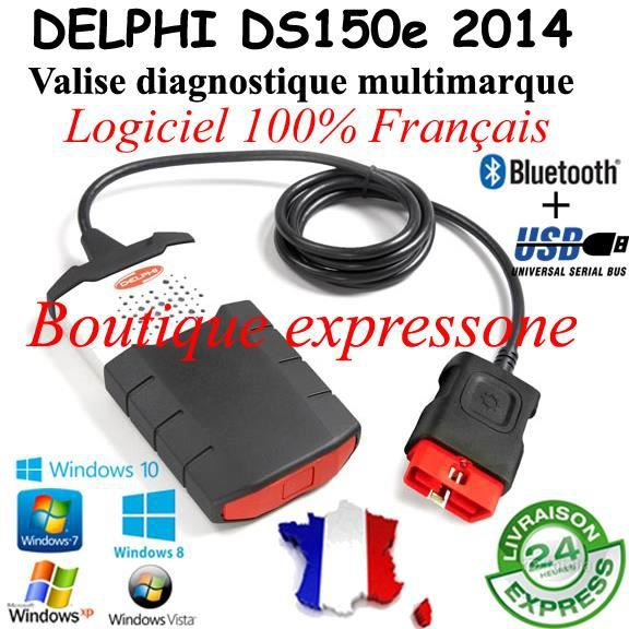 valise diagnostic delphi ds150e 2014 windows 10 achat. Black Bedroom Furniture Sets. Home Design Ideas