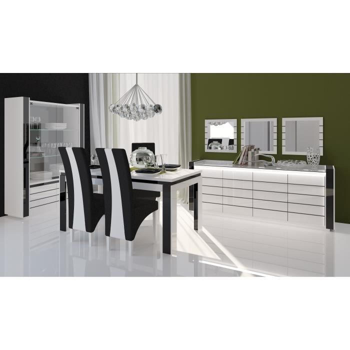 salle manger lina buffet vitrine table 160cm achat vente salle manger salle manger. Black Bedroom Furniture Sets. Home Design Ideas