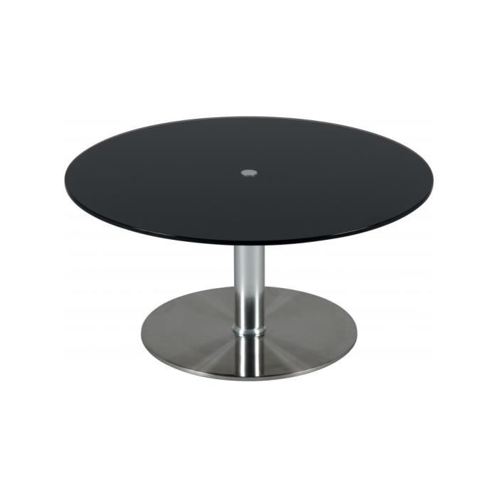 table basse ronde hauteur r glable verre noir achat vente table basse table basse ronde. Black Bedroom Furniture Sets. Home Design Ideas
