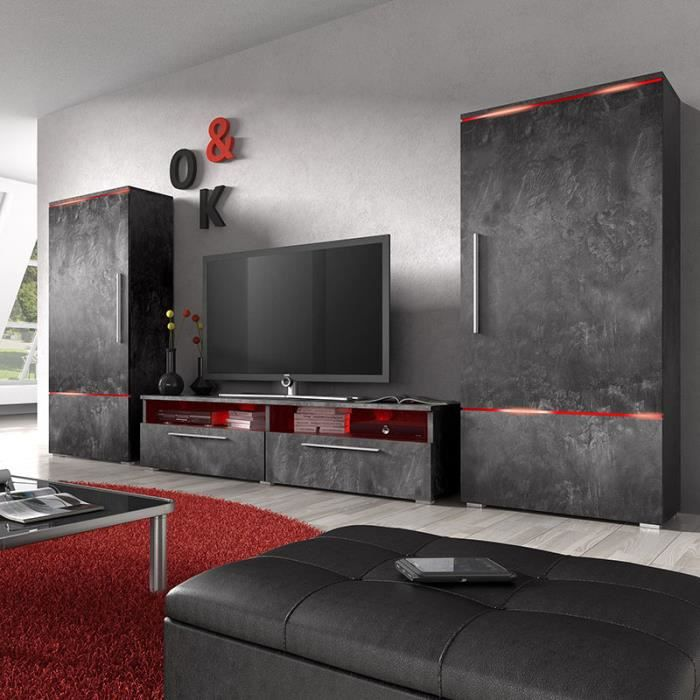 ensemble meuble tv effet b ton design motivation 3 achat vente living meuble tv ensemble. Black Bedroom Furniture Sets. Home Design Ideas