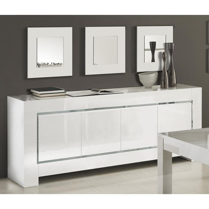 Buffet Bahut Blanc Laque Bandes Chromees Design Flavie 3 Buffet 4 Portes L 210 X P 47 X H 85 Cm Blanc