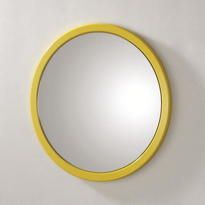miroir mural rond syla jaune achat vente miroir pvc et mdf cdiscount. Black Bedroom Furniture Sets. Home Design Ideas