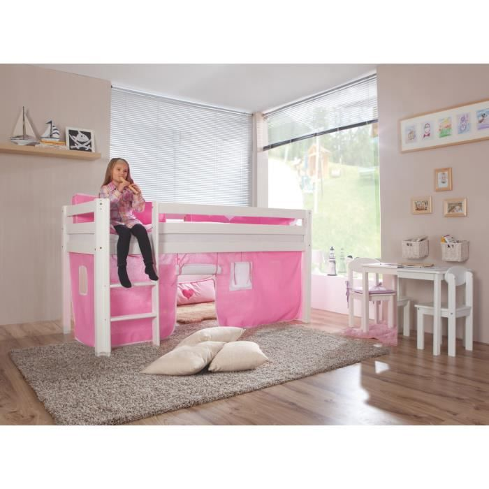 lit mezzanine pour fille coloris rose et blanc achat. Black Bedroom Furniture Sets. Home Design Ideas