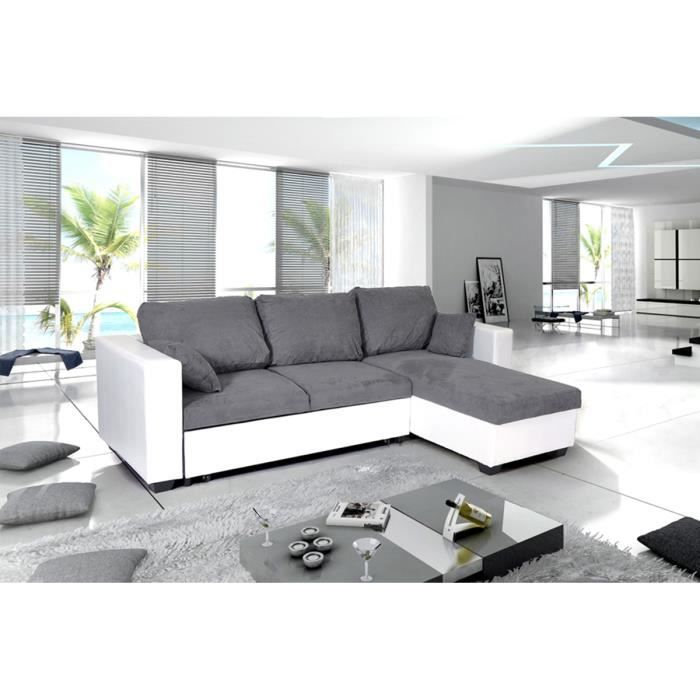 canap d 39 angle convertible reversible pu microfibre blanc gris leeds achat vente canap. Black Bedroom Furniture Sets. Home Design Ideas