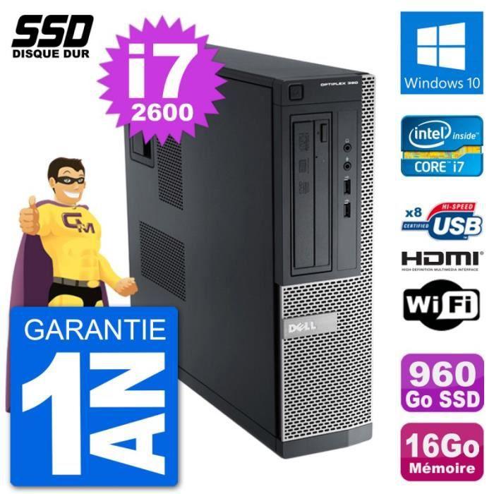 UNITÉ CENTRALE  PC Dell OptiPlex 390 DT i7-2600 RAM 16Go SSD 960Go