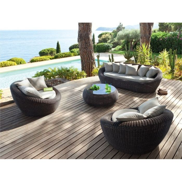 Salon 4 pieces aspect rotin vieilli naturel achat for Salon de jardin rotin blanc
