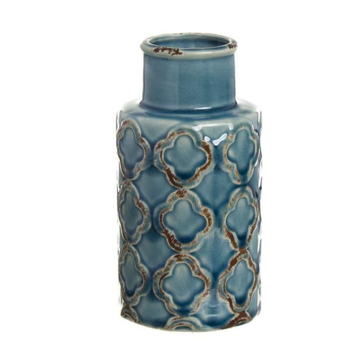 VASE - SOLIFLORE Vase en Ceramique Bleu 16 cm - Couleur: Bleu - 287