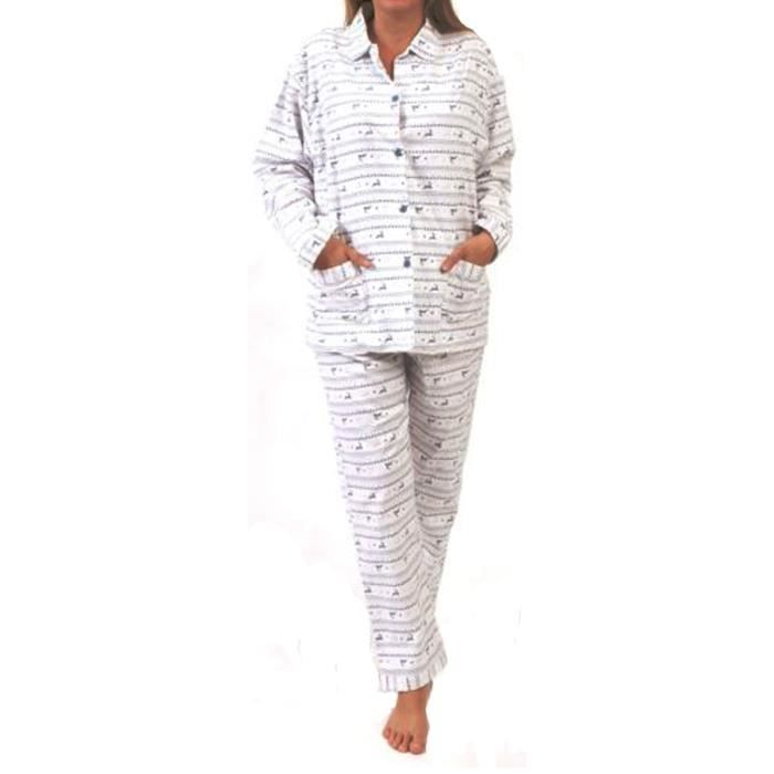 Pyjama Femme Boutonné Bleu - Achat / Vente