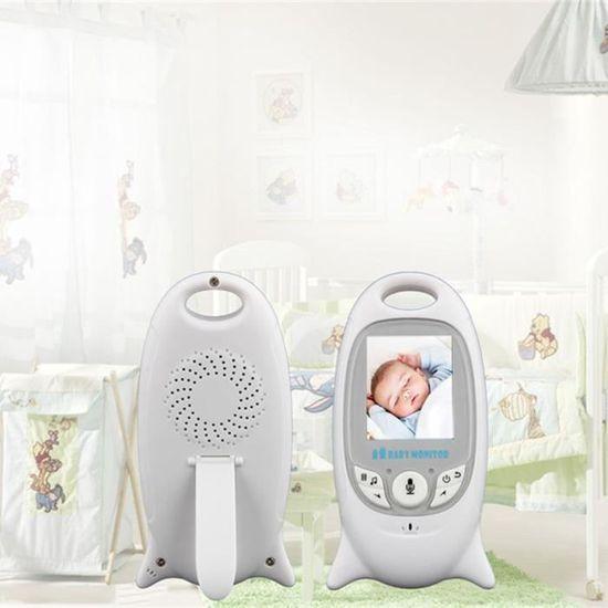 SODIAL UE Moniteur de video sans fil blanc de sommeil pour bebe avec camera Securite electronique de bebe 2 interphone Surveillance de temperature LED IR de vision nocturne