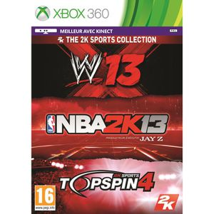 JEUX XBOX 360 TRIPLE PACK SPORT:NBA 2K13+WWE 13+ TOP SPIN 4/X360