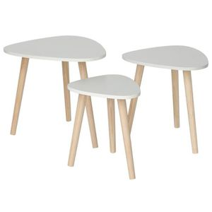TABLE BASSE NUO Lot de 3 Tables basse Blanche Table Gigogne Sc