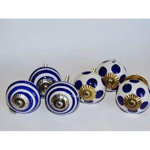 POIGNÉE - BOUTON MEUBLE Lot de 6 boutons en porcelaine - Lot 6