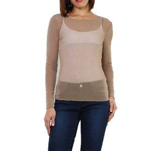 T-SHIRT T-shirt,résille,Haut en voile transparente,taille