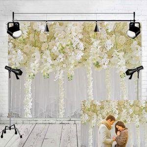 FOND DE STUDIO Rideau de Toile de Fond de Fleurs Blanches Floral
