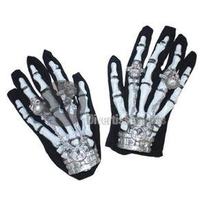 MELOP Gants demi-doigts unisexes avec motif squelette qui brillent dans le noir Halloween
