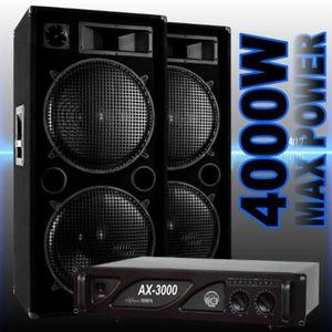 PACK SONO PACK SONO DJ avec 2 ENCEINTES 2000W + 1 AMPLI 3000