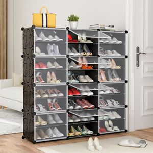 ARMOIRE DE CHAMBRE JEOBEST® Armoire à Chaussures 24 Cubes Meuble à Ch