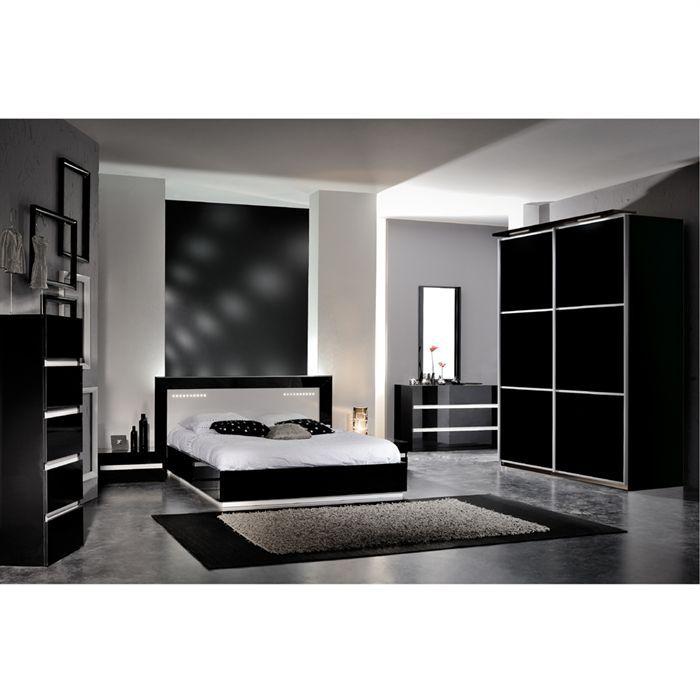 ODI Chambre adulte complète 140x190 noir et blanc - Achat ...