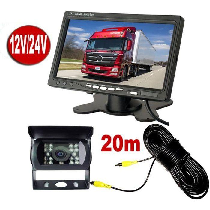 Caméra de Recul 7 pouces Moniteur LCD,18 LED IR Nocturne Vision Caméra Arrière Kit 20m Câble 12V-24V pour Bus Remorque Camion RV