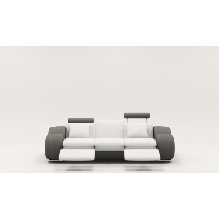 Canapé design 3 places cuir blanc et gris + têtières relax OSLO