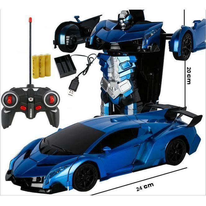 Voiture Télécommandée, Déformation Voiture Robot Jouet, Télécommande Robot Un Bouton Transformation Voiture Enfants Jouet Cadeau Ges