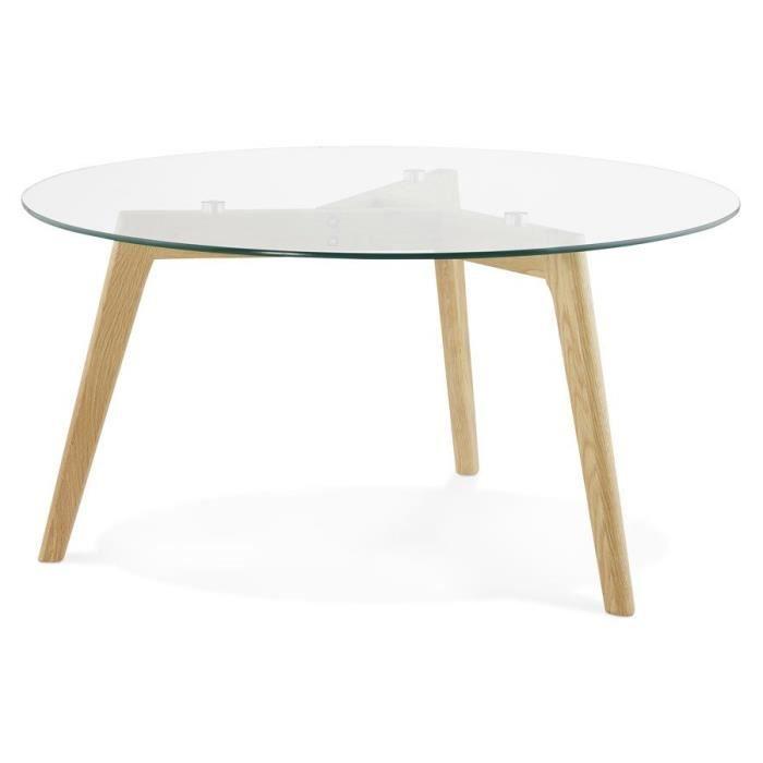 TABLE BASSE DE SALON RONDE 'GABY' EN VERRE