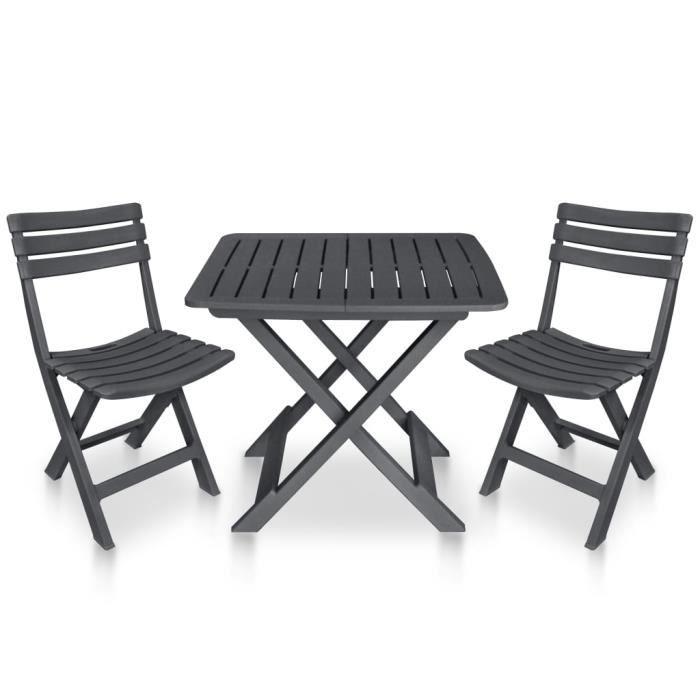 Mobilier de bistro Mobilier de Terrasse Table et Chaises d'Extérieur pliable 3 pcs Plastique Anthracite