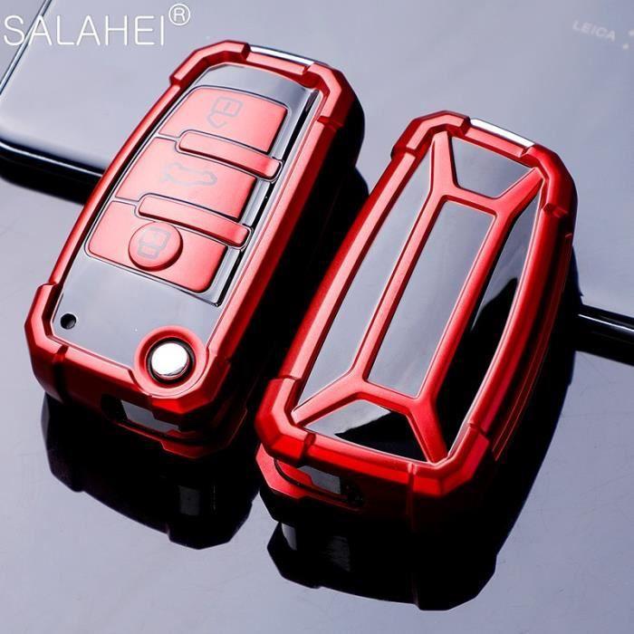 TPU Voiture Porte Clés Coquille Pour Audi A3 A4 A4L B5 B6 B7 B8 B9 A5 A6 A6L C5 C6 Q3 SUPPORT POUR VOI A-red