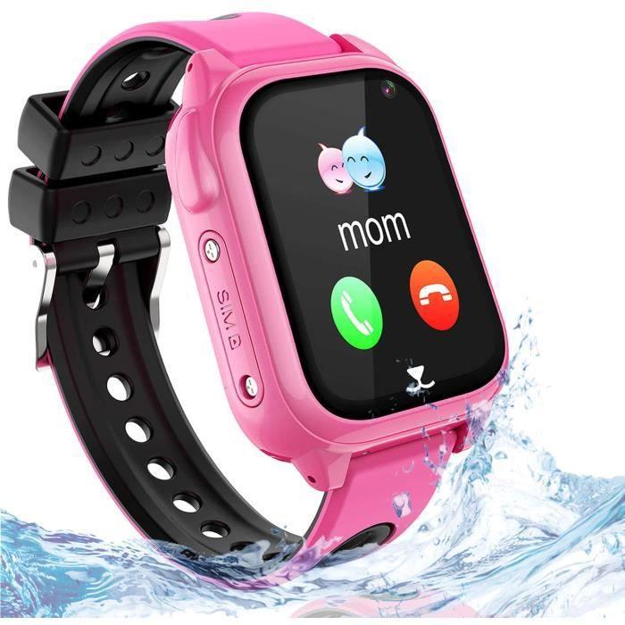 GPS Smartwatch Phone pour Enfants - Montre Téléphone IP67 étanche avec Localisateur GPS Chat Vocal Jeux de caméras SOS Réveil [1575]