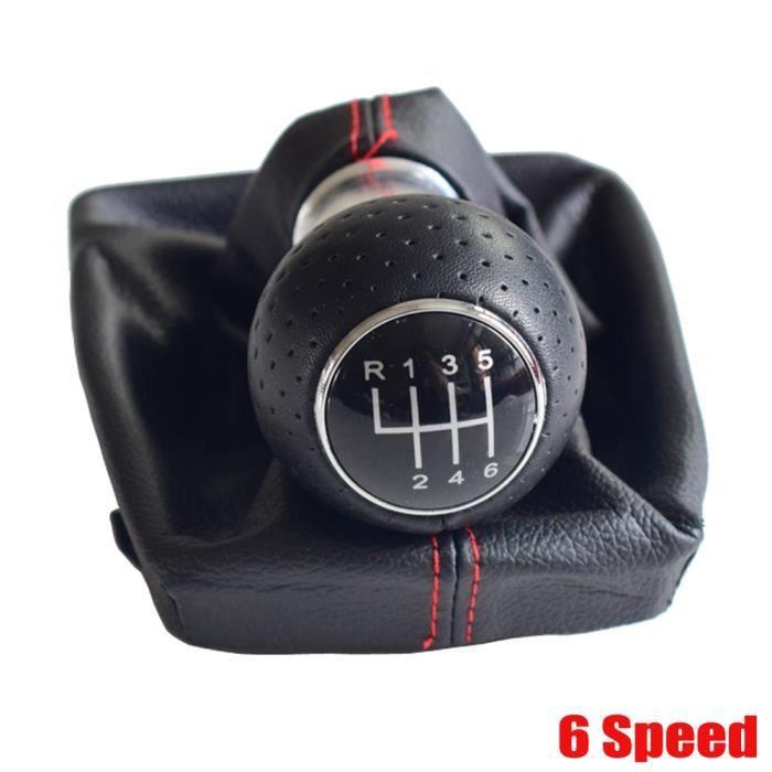 6Speed -Poignée de changement de vitesse manuel pour Audi A4 B6 B7 2000 08, poignée avec cache botte en cuir noir, accessoire de voi