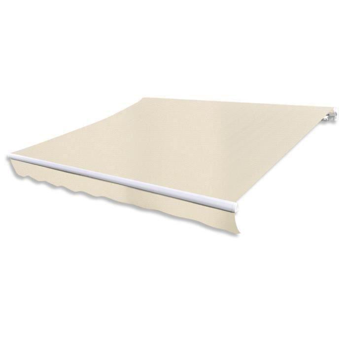 3 x 2,5m Store Banne en toile auvent Blanc crème sans cadre Résistant aux UV pour jardin-patio-terrasse