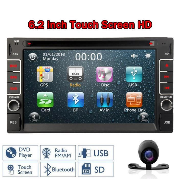 Autoradio Double Din 6.2 pouces à écran tactile lecteur DVD stéréo Bluetooth GPS Navigation unité principale Support SD / USB / RDS