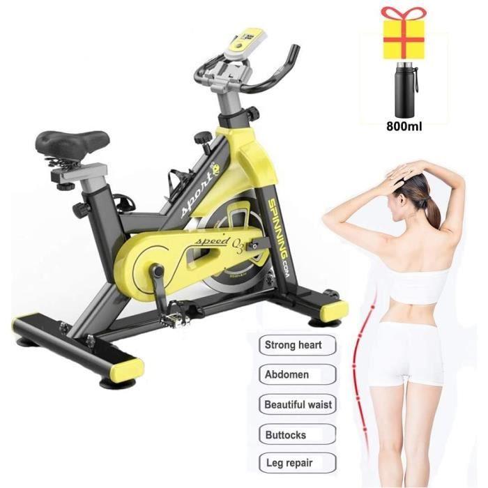 RVTYR Vélo d'appartement en acier inoxydable, roue d'inertie de 20 kg, siège réglable, pédale d'entraînement de fitness à la maison