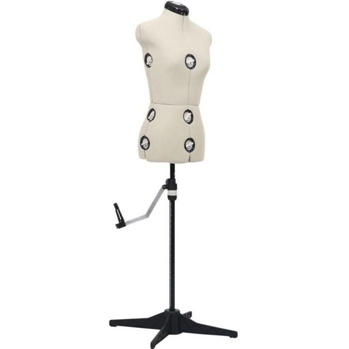 9809®Bon Mannequin de Couture,de Vitrine,de robe, Mannequin de robe ajustable pour femme Crème S Taille 33-40