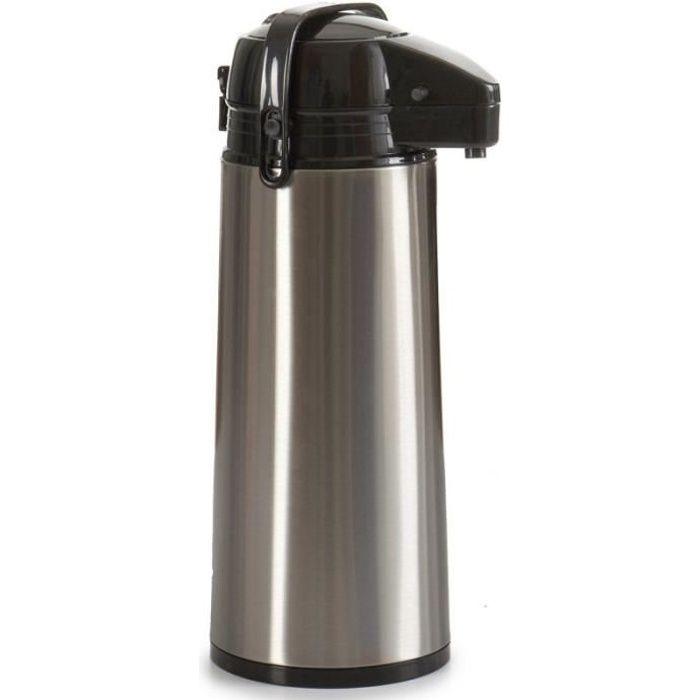 Distributeur Thermo en acier inoxydable. Tête et poignée en polypropylène noir. Capacité 1.9 litres
