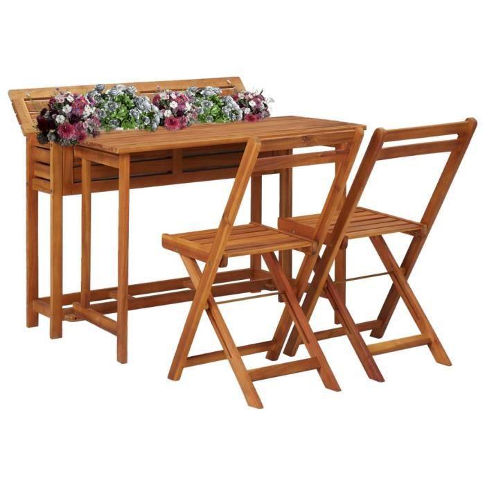 vidaXL Table de balcon avec 2 chaises de bistro Bois d'acacia massif - 8719883718897