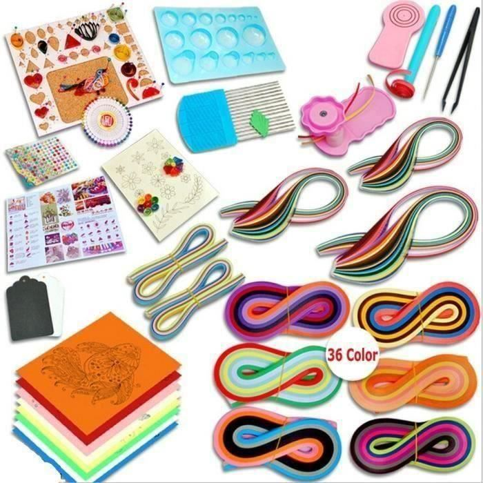 Quilling papier ensemble matériel de dessin l'outil débutants papier de couleur WYK93730 LIJFK30609