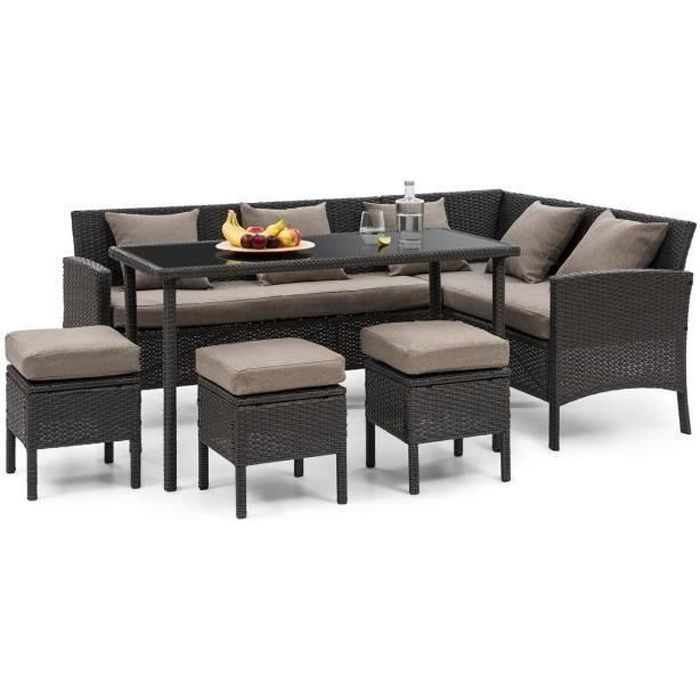Blumfeldt Titania Lounge Salon de jardin 7 places en résine tréssée - table à manger , canapé & 3 poufs - polyrotin noir & marron
