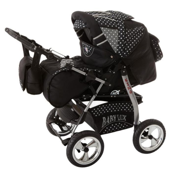 King 4 en 1 Poussette combinée avec siège auto + ISOFIX Poussette Canne et accessoires 13 noir cosmique & flocons de neige