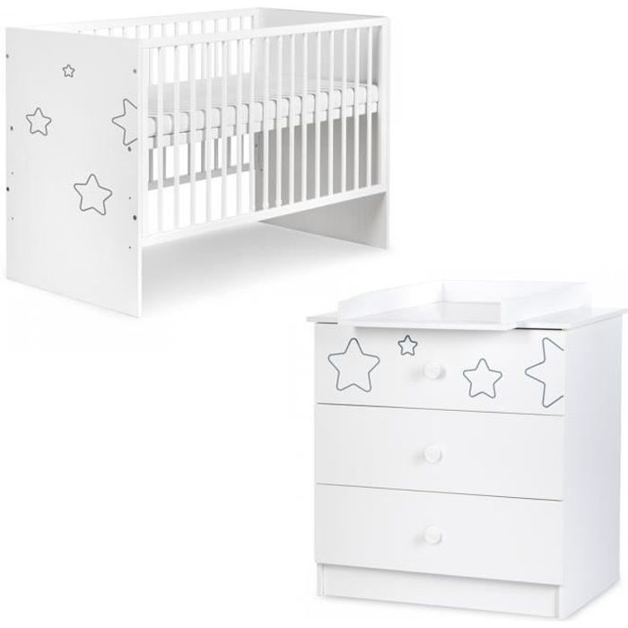 TINO Chambre bébé lit bébé et commode à langer motifs étoiles Blanc 120x60 cm