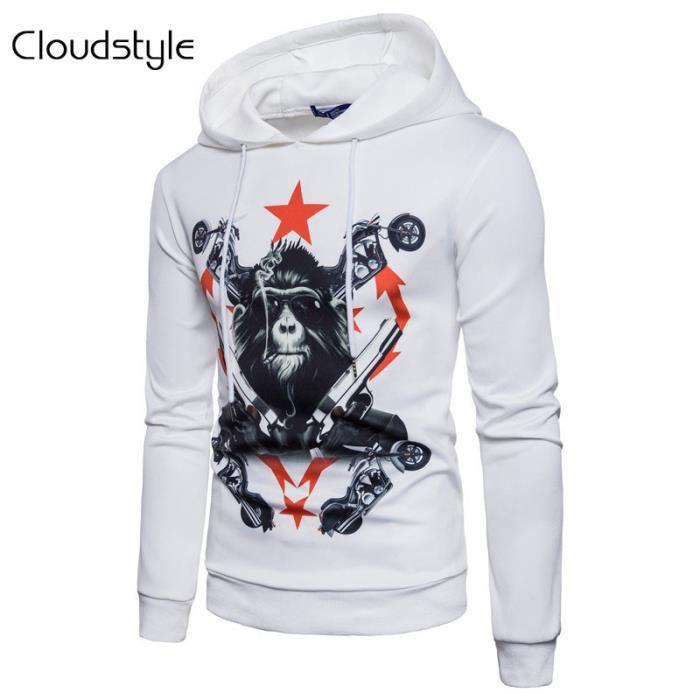 2017 nouveau sweat-shirt à capuche en polyester imprimé motif gorille design original tendance style hip-hop