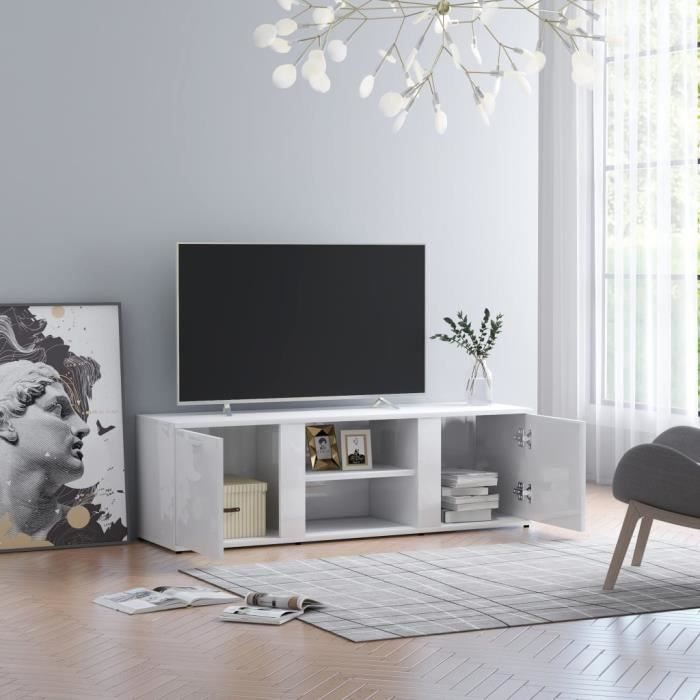 8948JILL® Meuble TV Blanc brillant 120x34x37 cm Meuble TV Blanc brillant 120x34x37 cm Aggloméré