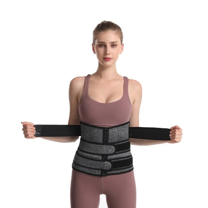 Taille de Formation des Femmes de Grande Taille Shaper Minceur Exercice Fitness Ceinture Abdominale Ventre Vers le Haut Gris 4XL