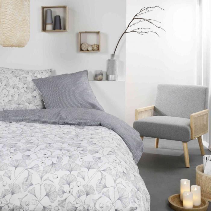 Parure de lit Mawira 2.12 imprimé blanc floral 240x220 cm - Blanc - Today