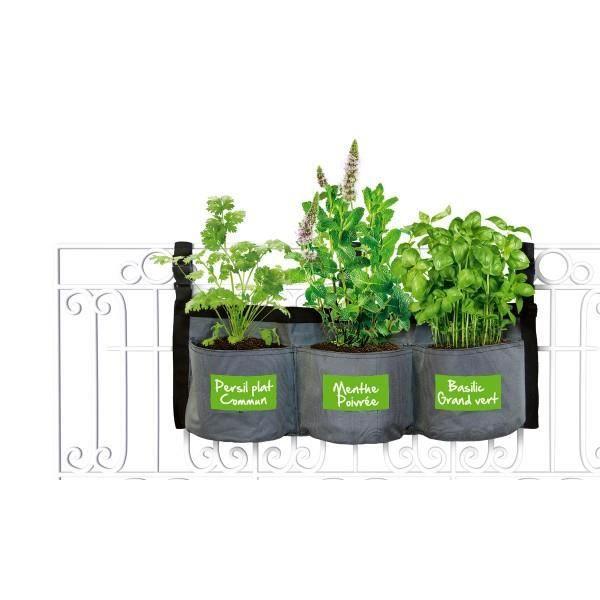 KITCHEN GARDENING Pot de fleurs en tissu - Jardin suspendu aromates
